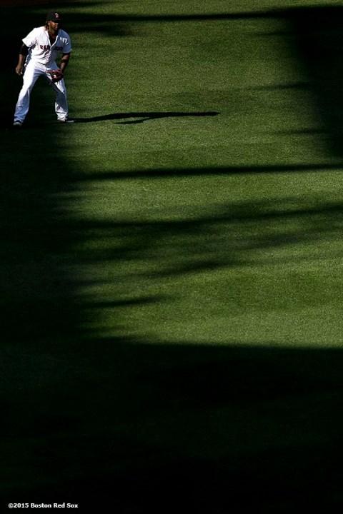 """Boston Red Sox left fielder Hanley Ramirez gets ready during a game against the Minnesota Twins at Fenway Park in Boston, Massachusetts Thursday, June 4, 2015."""