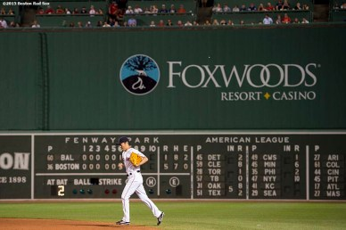 """Boston Red Sox pitcher Koji Uehara enters the game during the ninth inning of a game against the Baltimore Orioles at Fenway Park in Boston, Massachusetts Wednesday, June 24, 2015."""