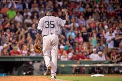 """New York Yankees pitcher Michael Pineda reacts during the sixth inning of a game against the Boston Red Sox at Fenway Park in Boston, Massachusetts Friday, July 10, 2015."""
