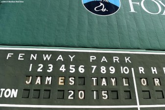 """""""A message is shown for the James Taylor concert at Fenway Park in Boston, Massachusetts Tuesday, August 4, 2015."""""""