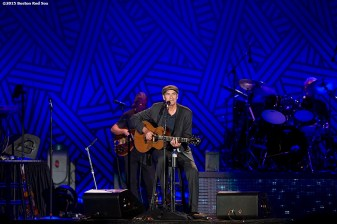 """""""Singer James Taylor performs during a concert at Fenway Park in Boston, Massachusetts Thursday, August 6, 2015."""""""