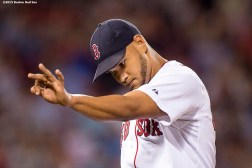 """""""Boston Red Sox pitcher Eduardo Rodriguez reacts during the sixth inning of a game against the Cleveland Indians at Fenway Park in Boston, Massachusetts Tuesday, August 18, 2015."""""""