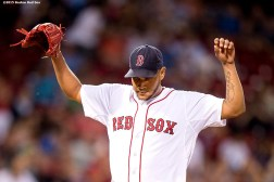 """""""Boston Red Sox pitcher Eduardo Rodriguez reacts during the eighth inning of a game against the Cleveland Indians at Fenway Park in Boston, Massachusetts Tuesday, August 18, 2015."""""""