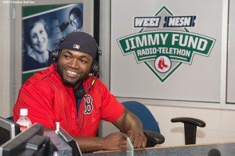"""Boston Red Sox designated hitter David Ortiz appears on set during the WEEI NESN Jimmy Fund Radio-Telethon at Fenway Park in Boston, Massachusetts Wednesday, August 19, 2015."""