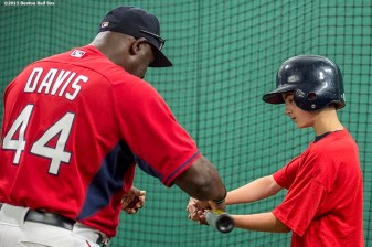 """""""Hitting coach Chili Davis instructs during a hitting drill during a Sox Talk clinic at Fenway Park in Boston, Massachusetts Wednesday, August 19, 2015."""""""
