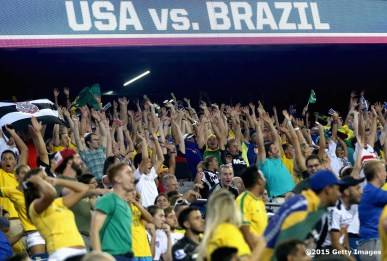 FOXBORO, MA - SEPTEMBER 08: Fans react during an international friendly between the United States and Brazil at Gillette Stadium on September 8, 2015 in Foxboro, Massachusetts. (Photo by Billie Weiss/Getty Images)