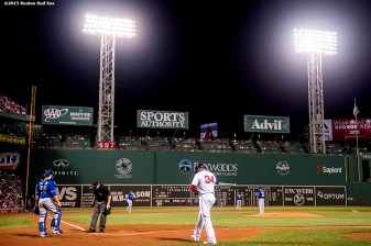 """Boston Red Sox designated hitter David Ortiz walks to the plate during the third inning of a game against the Toronto Blue Jays at Fenway Park in Boston, Massachusetts Monday, September 9, 2015."""