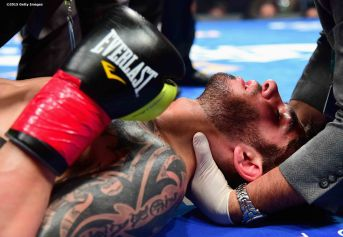 MASHANTUCKET, CT - SEPTEMBER 12: Michael Zerafa is tended to after being knocked out by Peter Quillin during a fight at Foxwoods Resort Casino on September 12, 2015 in Mashantucket, Connecticut. (Photo by Billie Weiss/Getty Images) *** Local Caption *** Michael Zerafa