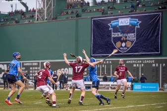 """Game action during the AIG Hurling Classic and Irish Festival game between Dublin and Galway at Fenway Park in Boston, Massachusetts Saturday, November 22, 2015."""