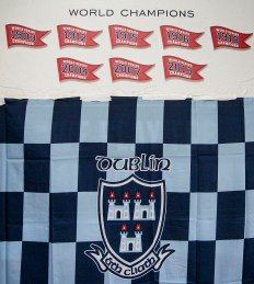 """The Dublin flag is displayed in the locker room during the AIG Hurling and Irish Festival at Fenway Park in Boston, Massachusetts Saturday, November 22, 2015."""