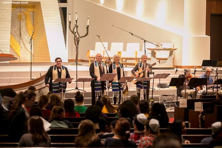 """""""The Clergy leads Qabbalat Shabbat services at Temple Israel in Boston, Massachusetts Friday, January 15, 2016."""""""