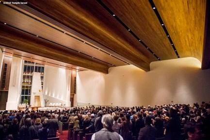 """Qabbalat Shabbat services are held at Temple Israel in Boston, Massachusetts Friday, January 15, 2016."""