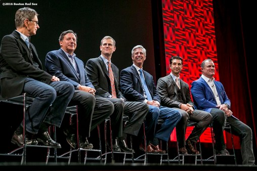"""""""Boston Red Sox Principal Owner John Henry, Chairman Tom Werner, President Sam Kennedy, President of Baseball Operations Dave Dombrowski, General Manager Mike Hazen, and Manager John Farrell speak at the NESN Town Hall during the 2016 Winter Weekend at Foxwoods Resort & Casino in Ledyard, Connecticut Friday, January 22, 2016."""""""