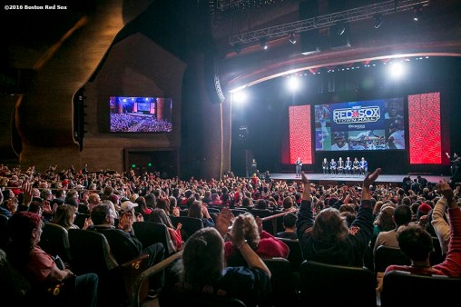"""""""Fans cheer at the NESN Town Hall during the 2016 Winter Weekend at Foxwoods Resort & Casino in Ledyard, Connecticut Friday, January 22, 2016."""""""