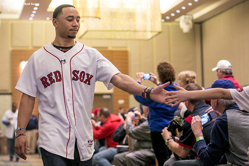 """""""Boston Red Sox center fielder Mookie Betts is introduced during the 2016 Winter Weekend at Foxwoods Resort & Casino in Ledyard, Connecticut Saturday, January 23, 2016."""""""