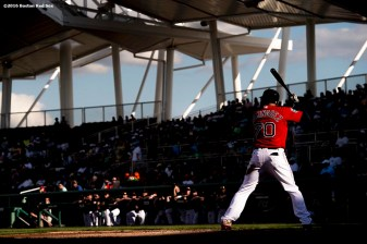 FT. MYERS, FL - FEBRUARY 29: Chris Dominguez #70 of the Boston Red Sox bats in an exhibition game against the Northeastern University Huskies on February 29, 2016 at jetBlue Park in Fort Myers, Florida . (Photo by Billie Weiss/Boston Red Sox/Getty Images) *** Local Caption ***Chris Dominguez
