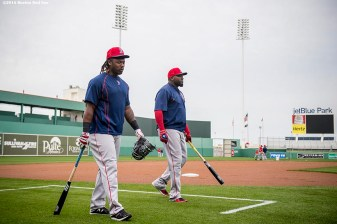 FT. MYERS, FL - MARCH 3: Hanley Ramirez #13 and David Ortiz #34 of the Boston Red Sox walk toward the field during a team workout on March 3, 2016 at Fenway South in Fort Myers, Florida . (Photo by Billie Weiss/Boston Red Sox/Getty Images) *** Local Caption *** David Ortiz; Hanley Ramirez