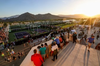 """Crowds are shown on the grounds during the 2016 BNP Paribas Open at the Indian Wells Tennis Garden in Indian Wells, California Saturday, March 12, 2016."""