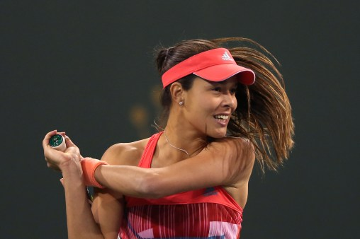 """""""Ana Ivanovic in action during the 2016 BNP Paribas Open at the Indian Wells Tennis Garden in Indian Wells, California Saturday, March 12, 2016."""""""