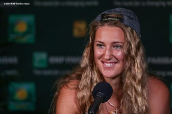 """Victoria Azarenka addresses the media during a press conference after defeating Serena Williams in the women's finals match during the 2016 BNP Paribas Open at the Indian Wells Tennis Garden in Indian Wells, California Sunday, March 20, 2016."""
