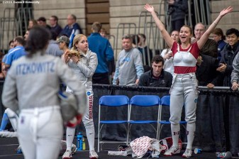 """Adrienne Jarocki and Aliya Itzkowitz of the Harvard University women's fencing team compete during the 2016 NCAA Fencing Championships at Brandeis University in Waltham, Massachusetts Friday, March 25, 2016."""