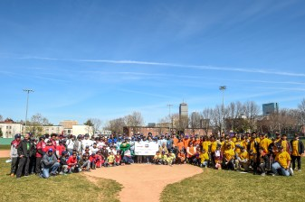 April 16, 2016, Boston, MA: RBI League teams pose for a group photograph during RBI Opening Day at Jim Rice Field in Boston, Massachusetts Saturday, April 16, 2016. (Photo by Billie Weiss/Boston Red Sox)