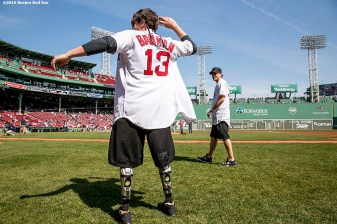 BOSTON, MA - APRIL 18: Boston Marathon bombing survivor Jeff Bauman and actor Jake Gyllenhaal warm up before throwing out a ceremonial first pitch together before a game between the Boston Red Sox and the Toronto Blue Jays on April 18, 2016 at Fenway Park in Boston, Massachusetts . (Photo by Billie Weiss/Boston Red Sox/Getty Images) *** Local Caption *** Jake Gyllenhall; Jeff Bauman