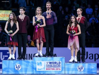 BOSTON, MA - MARCH 31: A medal ceremony is held for the ice dance free dance competition with gold medalists Gabriella Papadakis and Guillaume Cizeron of France, silver medalists Maia Shibutani and Alex Shibutani of the United States, and bronze medalists Madison Chock and Evan Bates during Day 4 of the ISU World Figure Skating Championships 2016 at TD Garden on March 31, 2016 in Boston, Massachusetts. (Photo by Billie Weiss - ISU/ISU via Getty Images) *** Local Caption *** Gabriella Papadakis; Guillaume Cizeron; Maia Shibutani; Alex Shibutani; Evan Bates; Madison Chock