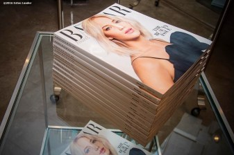 """""""Editions of Harper's Bazaar Magazine are shown during the Estee Lauder Fabulous at Every Age event at Saks Fifth Avenue in Boston, Massachusetts Friday, April 22, 2016."""""""