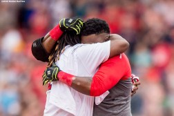 BOSTON, MA - MAY 14: David Ortiz #34 of the Boston Red Sox embraces with Hanley Ramirez #13 after hitting a game winning walk-off single during the eleventh inning of a game against the Houston Astros on May 14, 2016 at Fenway Park in Boston, Massachusetts. (Photo by Billie Weiss/Boston Red Sox/Getty Images) *** Local Caption *** David Ortiz; Hanley Ramirez