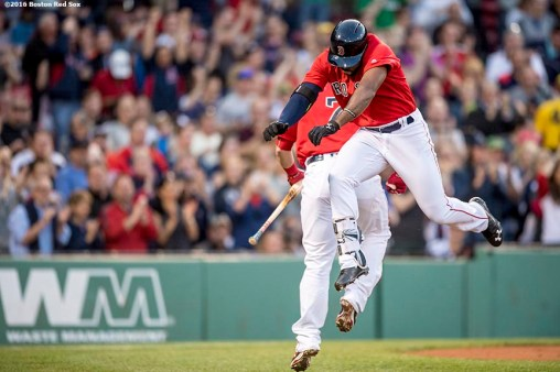 BOSTON, MA - MAY 20: Jackie Bradley Jr. #25 of the Boston Red Sox reacts after hitting a solo home run during the second inning of a game against the Cleveland Indians on May 20, 2016 at Fenway Park in Boston, Massachusetts. (Photo by Billie Weiss/Boston Red Sox/Getty Images) *** Local Caption *** Jackie Bradley Jr.