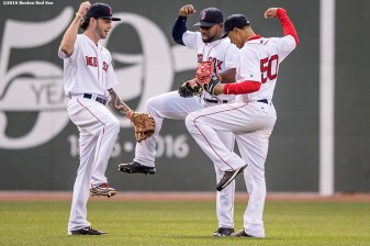 BOSTON, MA - MAY 21: Jackie Bradley Jr. #25, Blake Swihart #23, and Mookie Betts #50 of the Boston Red Sox celebrate a victory against the Cleveland Indians on May 21, 2016 at Fenway Park in Boston, Massachusetts. (Photo by Billie Weiss/Boston Red Sox/Getty Images) *** Local Caption *** Jackie Bradley Jr.; Blake Swihart; Mookie Betts