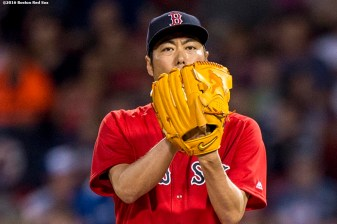 BOSTON, MA - JUNE 3: Koji Uehara #19 of the Boston Red Sox delivers during the eighth inning of a game against the Toronto Blue Jays on June 3, 2016 at Fenway Park in Boston, Massachusetts. (Photo by Billie Weiss/Boston Red Sox/Getty Images) *** Local Caption *** Koji Uehara