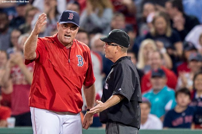 BOSTON, MA - JUNE 3: Manager John Farrell of the Boston Red Sox argues a call during the ninth inning of a game against the Toronto Blue Jays on June 3, 2016 at Fenway Park in Boston, Massachusetts. (Photo by Billie Weiss/Boston Red Sox/Getty Images) *** Local Caption *** John Farrell