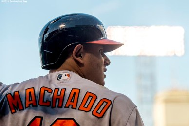 BOSTON, MA - JUNE 15: Manny Machado #13 of the Baltimore Orioles looks on from on-deck during the first inning of a game against the Boston Red Sox on June 15, 2016 at Fenway Park in Boston, Massachusetts. (Photo by Billie Weiss/Boston Red Sox/Getty Images) *** Local Caption *** Manny Machado