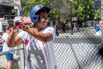 June 15, 2016, Boston, MA: A fan takes batting practice in the batting cage during the unveiling of the Red Sox Showcase Mobile Truck powered by T-Mobile at Faneuil Hall in Boston, Massachusetts Wednesday, June 15, 2016. (Photo by Billie Weiss/Boston Red Sox)