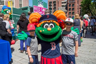 June 15, 2016, Boston, MA: Boston Red Sox mascot Tessie poses with fans during the unveiling of the Red Sox Showcase Mobile Truck powered by T-Mobile at Faneuil Hall in Boston, Massachusetts Wednesday, June 15, 2016. (Photo by Billie Weiss/Boston Red Sox)