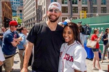 June 15, 2016, Boston, MA: Boston Red Sox pitcher Matt Barnes poses for a photograph with a Red Sox Foundation scholar during the unveiling of the Red Sox Showcase Mobile Truck powered by T-Mobile at Faneuil Hall in Boston, Massachusetts Wednesday, June 15, 2016. (Photo by Billie Weiss/Boston Red Sox)