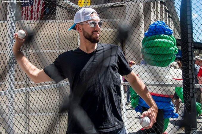 June 15, 2016, Boston, MA: Boston Red Sox pitcher Matt Barnes throws batting practice to a fan during the unveiling of the Red Sox Showcase Mobile Truck powered by T-Mobile at Faneuil Hall in Boston, Massachusetts Wednesday, June 15, 2016. (Photo by Billie Weiss/Boston Red Sox)