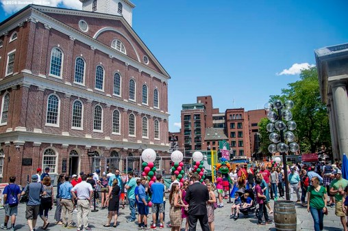 June 15, 2016, Boston, MA: Fans attend the unveiling of the Red Sox Showcase Mobile Truck powered by T-Mobile at Faneuil Hall in Boston, Massachusetts Wednesday, June 15, 2016. (Photo by Billie Weiss/Boston Red Sox)