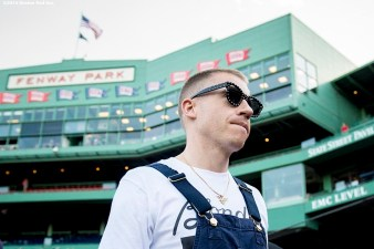 BOSTON, MA - JUNE 17: Singer Macklemore attends a game between the Boston Red Sox and the Seattle Mariners on June 17, 2016 at Fenway Park in Boston, Massachusetts. (Photo by Billie Weiss/Boston Red Sox/Getty Images) *** Local Caption *** Macklemore