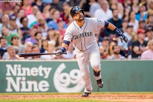 BOSTON, MA - JUNE 17: Franklin Gutierrez #21 of the Seattle Mariners hits an RBI double during the fourth inning of a game against the Boston Red Sox on June 17, 2016 at Fenway Park in Boston, Massachusetts. It was Gutierrez second home run of the game. (Photo by Billie Weiss/Boston Red Sox/Getty Images) *** Local Caption *** Franklin Gutierrez