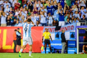 FOXBORO, MASSACHUSETTS - JUNE 18: Gonzalo Higuaín of Argentina reacts as he exits the match during a Quarterfinal match between Argentina and Venezuela at Gillette Stadium as part of Copa America Centenario US 2016 on June 18, 2016 in Foxboro, Massachusetts, US. (Photo by Billie Weiss/LatinContent/Getty Images)