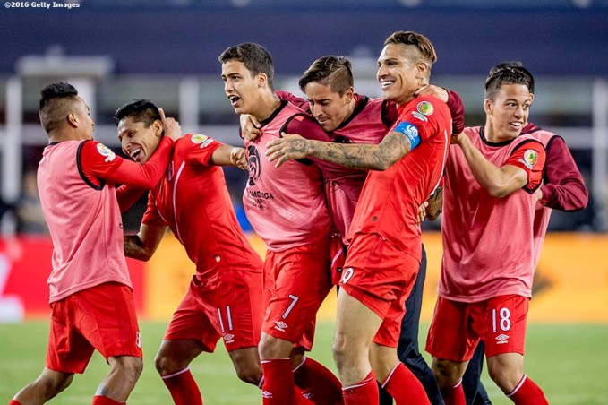 FOXBORO, MASSACHUSETTS - JUNE 12: Raúl Ruidíaz and Paolo Guerrero of Peru react with teammates after winning a group B match between Brazil and Peru at Gillette Stadium as part of Copa America Centenario US 2016 on June 12, 2016 in Foxboro, Massachusetts, US. (Photo by Billie Weiss/LatinContent/Getty Images)