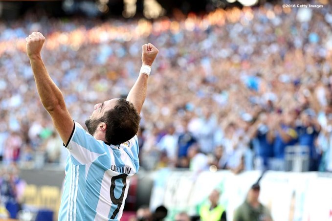 FOXBORO, MASSACHUSETTS - JUNE 18: Gonzalo Higuain of Argentina reacts after scoring his second goal during a Quarterfinal match between Argentina and Venezuela at Gillette Stadium as part of Copa America Centenario US 2016 on June 18, 2016 in Foxboro, Massachusetts, US. (Photo by Billie Weiss/LatinContent/Getty Images)