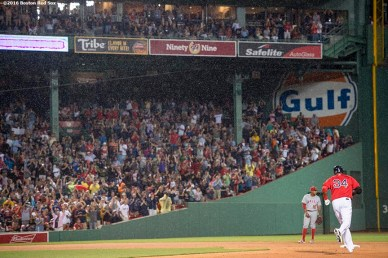 BOSTON, MA - JULY 1: David Ortiz #34 of the Boston Red Sox rounds the bases after hitting a solo home run during the fifth inning of a game against the Los Angeles Angels of Anaheim on July1, 2016 at Fenway Park in Boston, Massachusetts. It was home run number 522 of his career, moving him into sole possession of 19th place on the all-time home run list. (Photo by Billie Weiss/Boston Red Sox/Getty Images) *** Local Caption *** David Ortiz
