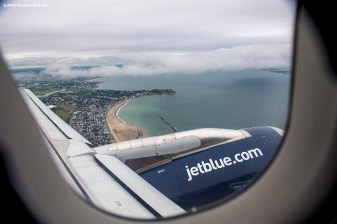 July 10, 2016, Boston, MA: A view out the window in Boston, Massachusetts Sunday, July 10, 2016 during a team charter flight to San Diego, California for the 2016 Major League Baseball All-Star Game. (Photos by Billie Weiss/Boston Red Sox)