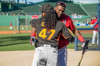 BOSTON, MA - JULY 19: David Ortiz #34 of the Boston Red Sox hugs Johnny Cueto#47 of the San Francisco Giants before a game on July 19, 2016 at Fenway Park in Boston, Massachusetts. (Photo by Billie Weiss/Boston Red Sox/Getty Images) *** Local Caption *** David Ortiz; Johnny Cueto