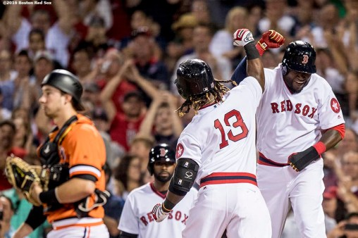 BOSTON, MA - JULY 20: Hanley Ramirez #13 of the Boston Red Sox reacts with David Ortiz #34 after hitting a two run home run during the sixth inning of a game against the San Francisco Giants on July 20, 2016 at Fenway Park in Boston, Massachusetts. It was his third home run of the game. (Photo by Billie Weiss/Boston Red Sox/Getty Images) *** Local Caption *** Hanley Ramirez; David Ortiz