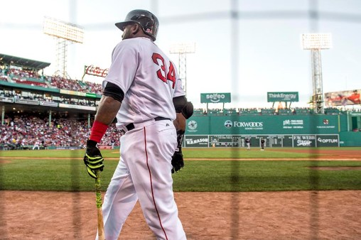 BOSTON, MA - JULY 21: David Ortiz #34 of the Boston Red Sox walks toward the on deck circle during the first inning of a game against the Minnesota Twins on July 21, 2016 at Fenway Park in Boston, Massachusetts. (Photo by Billie Weiss/Boston Red Sox/Getty Images) *** Local Caption *** David Ortiz